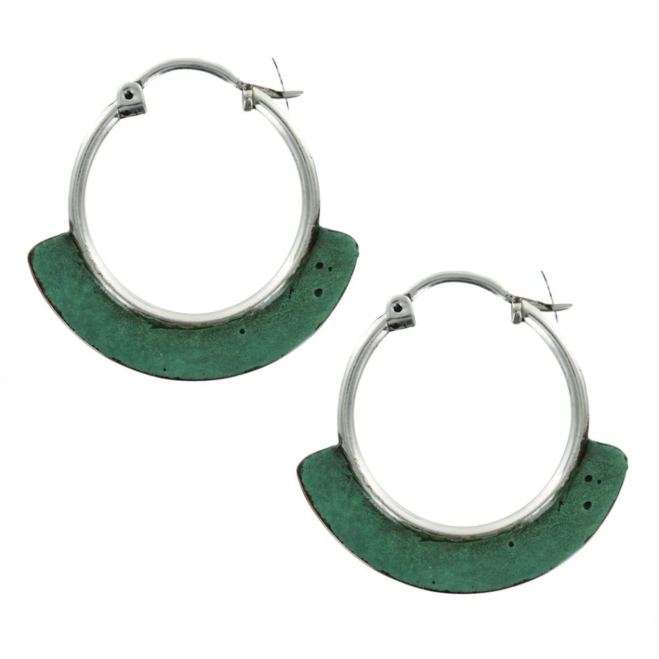 ff9d36fb8 Copper Patina & 925 Silver Half Moon Earrings - Mexican Jewelry Design